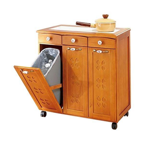 かわいいキッチンダストボックス(ゴミ箱) 〔2: 3分別〕 木製 引き出し/キャスター付き ライトブラウン 〔完成品〕