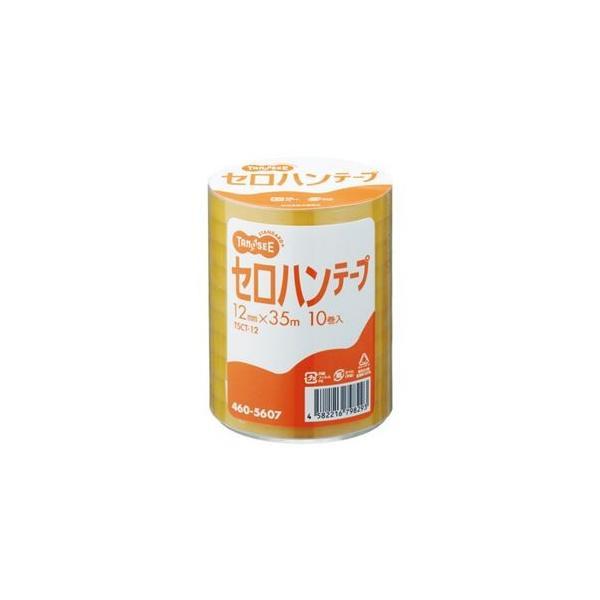 (まとめ) TANOSEE セロハンテープ 12mm×35m 1パック(10巻) 〔×5セット〕