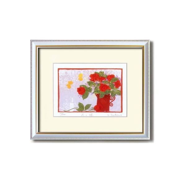 『花』風水額/シルク版画 〔吉岡浩太郎 赤い花〕 吊りひも付き 日本製
