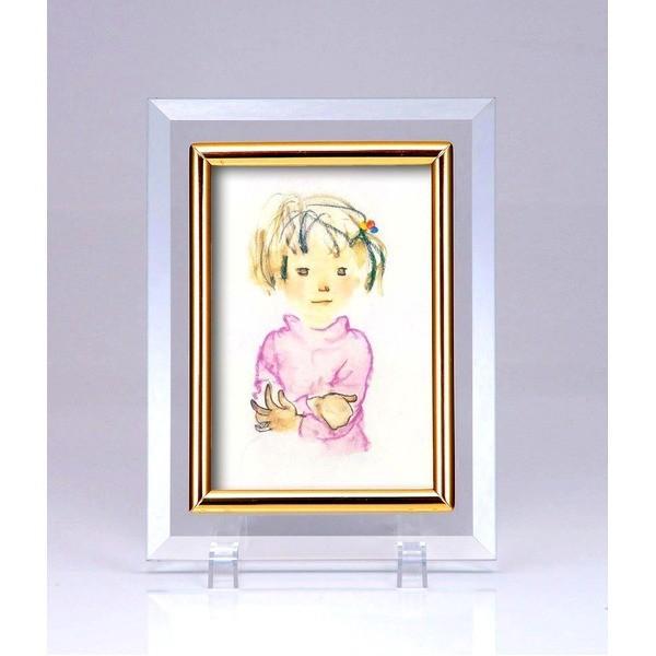 クリスタルフォトフレーム/写真立て 〔ハガキサイズ 150×105mm対応〕 いわさきちひろ 「ピンクのセーターの少女」