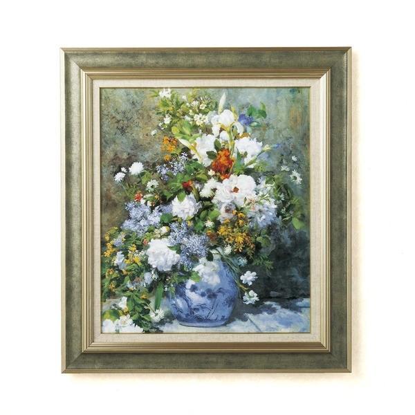 名画額縁/フレームセット 〔F10号〕 ルノワール 「花瓶の花」 690×615×38mm 壁掛けひも付き ストーングレーフレーム