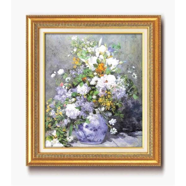 名画額縁/フレームセット 〔F10号〕 ルノワール 「花瓶の花」 670×595×38mm 壁掛けひも付き金フレーム