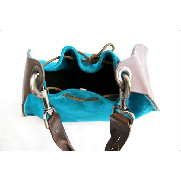 dean(ディーン) round shoulder bag w/drawstring レザーバッグ ターコイズ ハンドル/茶