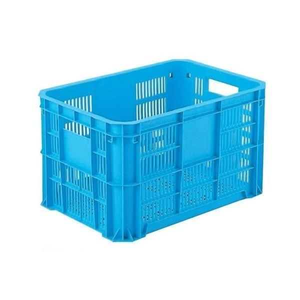 〔6個セット〕 リステナー/網目コンテナボックス 〔MB-20F〕 ブルー メッシュ構造 〔みかん 果物 野菜等収穫 保管 保存 物流〕〔代引不可〕