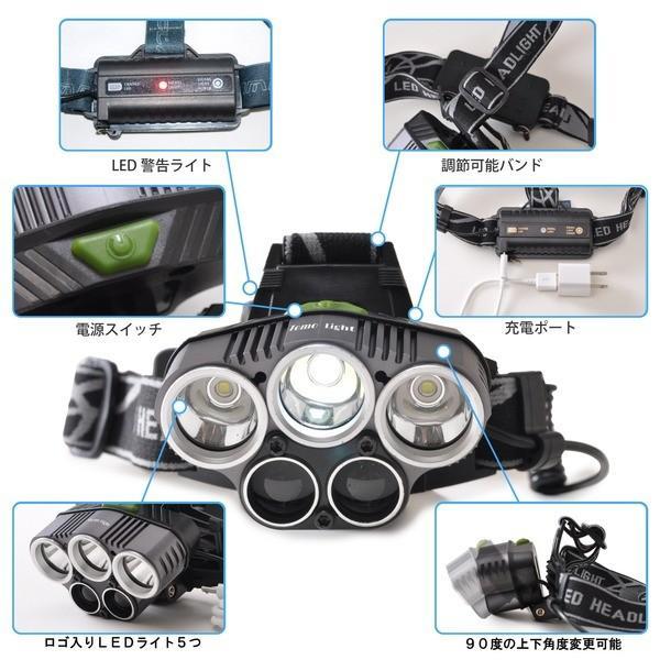 Tomo Light LEDヘッドライト 充電式 ヘッドライト 対防水コーティング ヘッデン 高輝度LED 3734ルーメン仕様 5点灯 防災 釣り 夜釣り