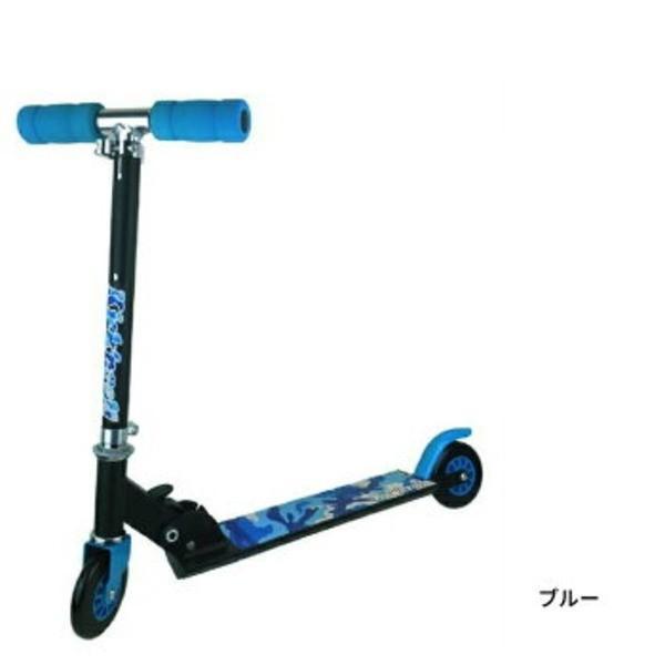 子供用 キックボード/おもちゃ 〔ブルー〕 全長62cm 折り畳み 軽量 『キックンロールスクーター Kick'n RollScooter』〔代引不可〕