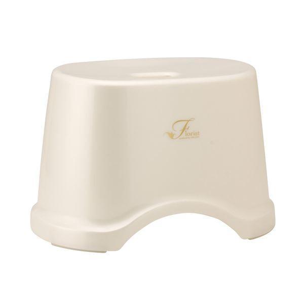 (まとめ) 風呂椅子/バスチェア 〔高さ22cm ホワイト〕 コンパクトサイズ 底ゴム付き バス用品 『Florist』 〔12個セット〕