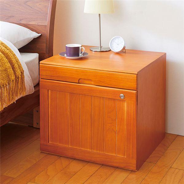 金庫収納チェスト/貴重品収納棚 〔幅52cm〕 木製 引き出し付き 扉付き 鍵付き 〔ベッドルーム 寝室〕