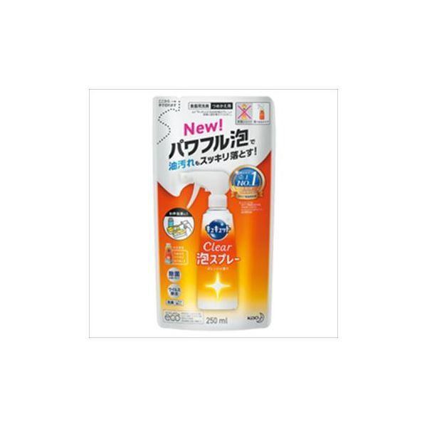(まとめ)花王 キュキュット CLEAR泡スプレー オレンジの香り 詰替 1個(250ml)〔×10セット〕