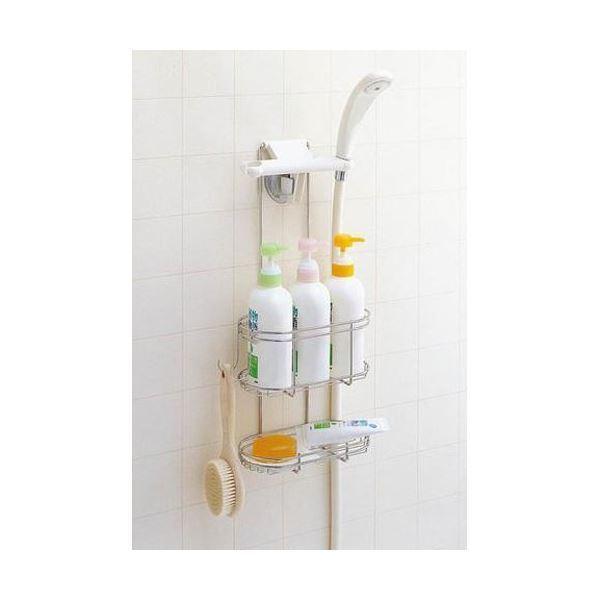 〔10個セット〕 シャンプーラック(シャワーラック/浴室収納棚) 幅23cm ステンレス製 石けん皿付き