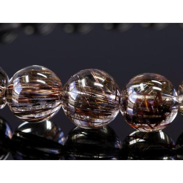 ブラックアイアンルチル ブレスレット 8mm玉 No.1 パワーストーン 天然石