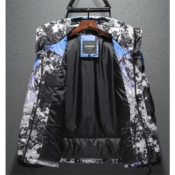 ダウンジャケット メンズ 中綿コート マウンテンパーカー アウトドア ブルゾン 厚手フード付き アウター 防寒|forestjapan|03