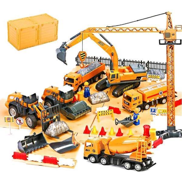 男の子おもちゃ建設工事作業車セット建設車両頑丈耐衝撃精密リアル 現合金モデル砂遊び趣味玩具ショベルカー工事現場トラクター