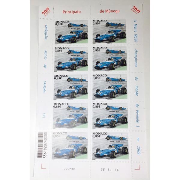 ジャッキー スチュワート モナコ公国 限定 切手シート F1 monaco 記念切手 Matra マトラ Jackie Stewart