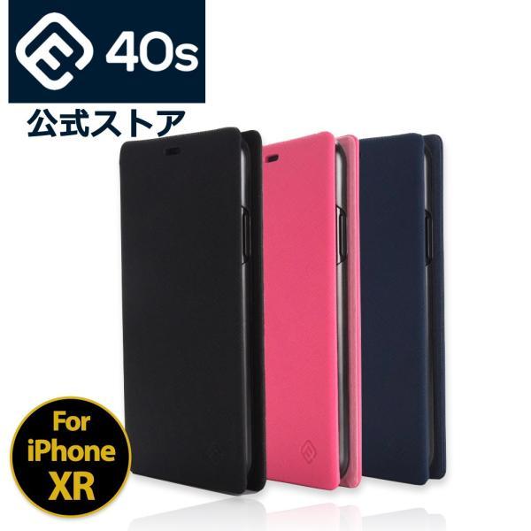 ポイント消化 iPhone XR ケース 手帳型 耐衝撃 スタンド機能 薄型 スタンド機能 カード収納ポケット Qi対応 シンプル おしゃれ iPhoneXR スマホケース 40s|forties