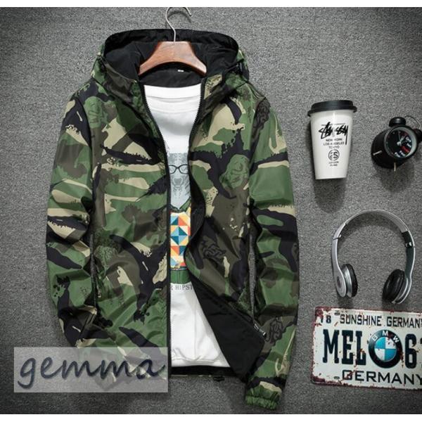 リバーシブル メンズ 迷彩柄 ジャンパー マウンテンパーカー メンズジャケット 薄手 ウインドブレーカー ジップパーカーブルゾン カジュアル オシャレ 防風 fortuna-gemma 06