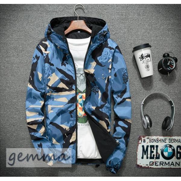 リバーシブル メンズ 迷彩柄 ジャンパー マウンテンパーカー メンズジャケット 薄手 ウインドブレーカー ジップパーカーブルゾン カジュアル オシャレ 防風 fortuna-gemma 07