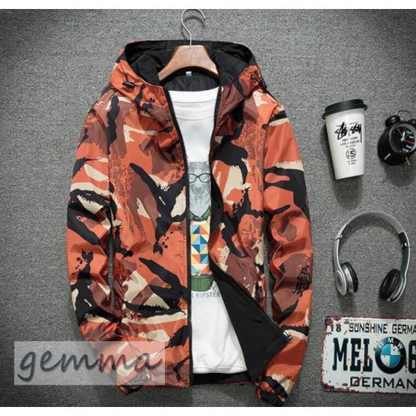 リバーシブル メンズ 迷彩柄 ジャンパー マウンテンパーカー メンズジャケット 薄手 ウインドブレーカー ジップパーカーブルゾン カジュアル オシャレ 防風 fortuna-gemma 09