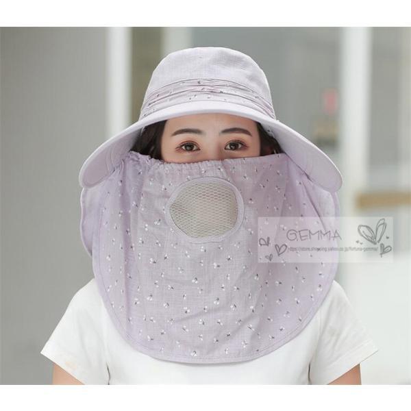つば広帽子 レディース UVカットハット 紫外線対策 サンバイザー 取外し可 折畳み可 日焼け止め バックリボン アウトドア 春夏秋 オシャレ 新作|fortuna-gemma|05