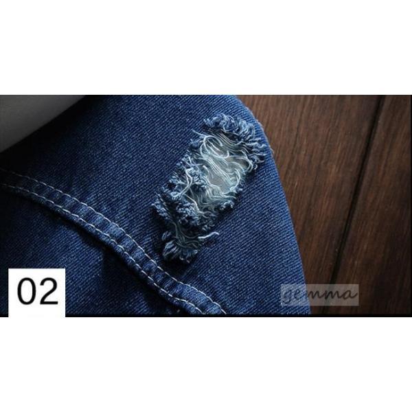 デニムジャケット ダメージ加工 Gジャン ジャケット アウター カジュアル 無地 お兄系  メンズ デニム フード付き  ジージャン|fortuna-gemma|09