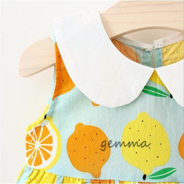 女の子 ワンピース 子供服 ミニ丈 ワンピース 赤ちゃん キッズ 夏 海  帽子付き  2点セット  可愛いドレス 綿 コットン  1~3歳 70~100cm|fortuna-gemma|04