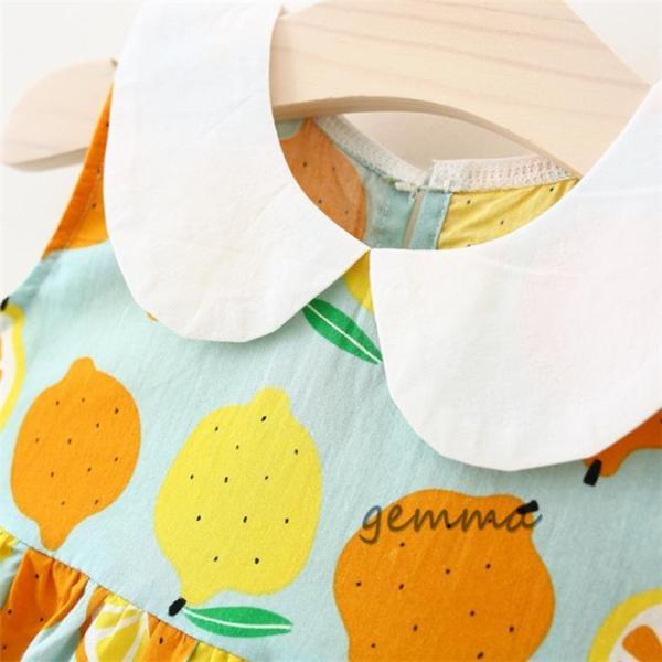 女の子 ワンピース 子供服 ミニ丈 ワンピース 赤ちゃん キッズ 夏 海  帽子付き  2点セット  可愛いドレス 綿 コットン  1~3歳 70~100cm|fortuna-gemma|05