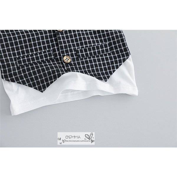 子供スーツ セットアップ キッズ タキシード  フォーマルスーツ シャツ  男の子  ベストTシャツ 重ね着 半袖 結婚式 誕生日 夏|fortuna-gemma|11