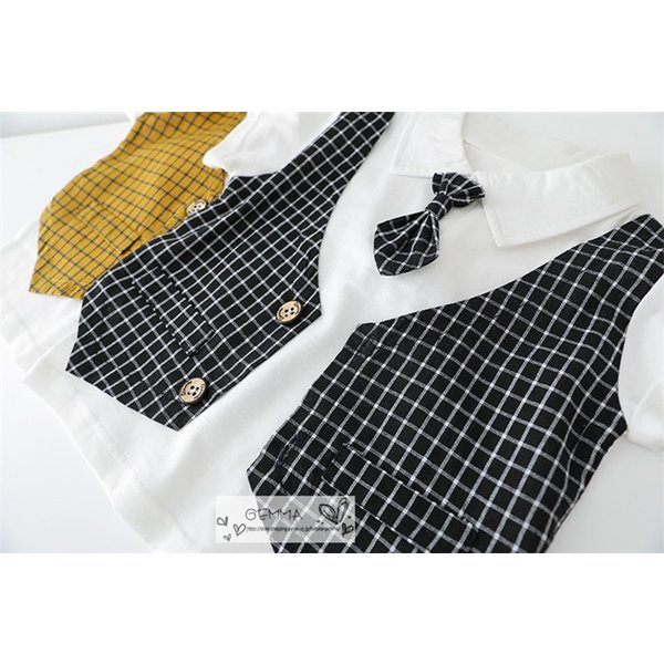 子供スーツ セットアップ キッズ タキシード  フォーマルスーツ シャツ  男の子  ベストTシャツ 重ね着 半袖 結婚式 誕生日 夏|fortuna-gemma|13