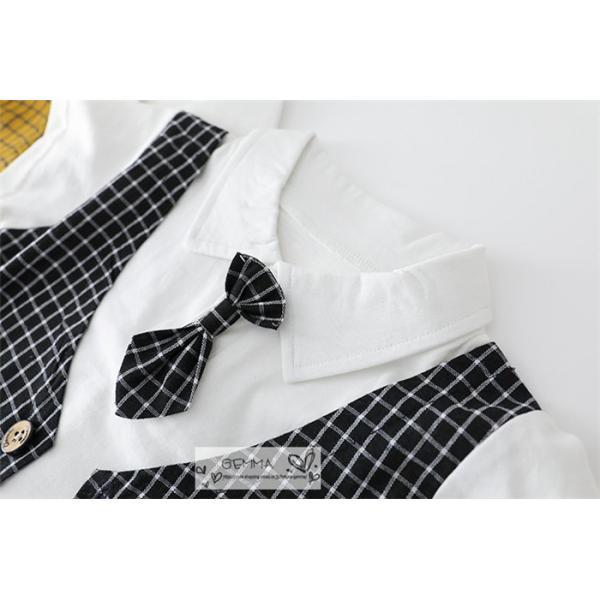 子供スーツ セットアップ キッズ タキシード  フォーマルスーツ シャツ  男の子  ベストTシャツ 重ね着 半袖 結婚式 誕生日 夏|fortuna-gemma|14