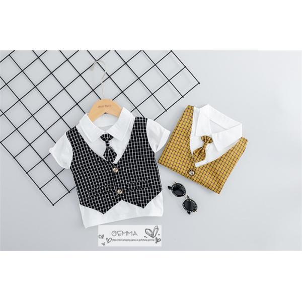子供スーツ セットアップ キッズ タキシード  フォーマルスーツ シャツ  男の子  ベストTシャツ 重ね着 半袖 結婚式 誕生日 夏|fortuna-gemma|04