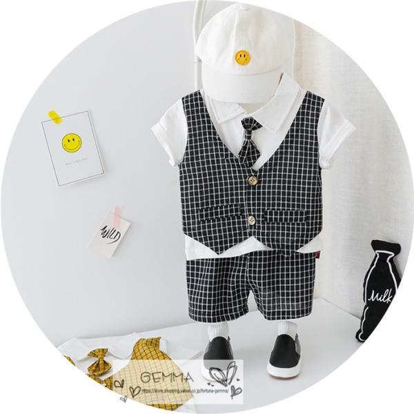 子供スーツ セットアップ キッズ タキシード  フォーマルスーツ シャツ  男の子  ベストTシャツ 重ね着 半袖 結婚式 誕生日 夏|fortuna-gemma|08
