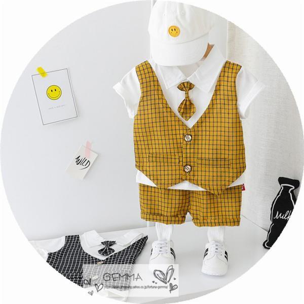 子供スーツ セットアップ キッズ タキシード  フォーマルスーツ シャツ  男の子  ベストTシャツ 重ね着 半袖 結婚式 誕生日 夏|fortuna-gemma|09
