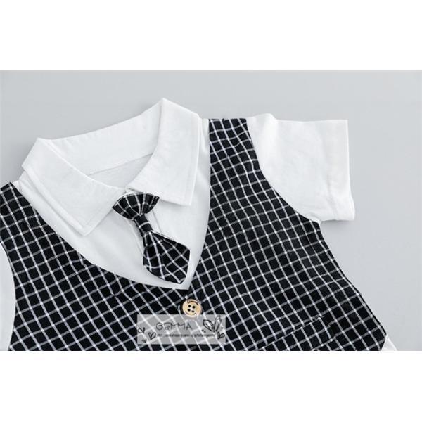 子供スーツ セットアップ キッズ タキシード  フォーマルスーツ シャツ  男の子  ベストTシャツ 重ね着 半袖 結婚式 誕生日 夏|fortuna-gemma|10