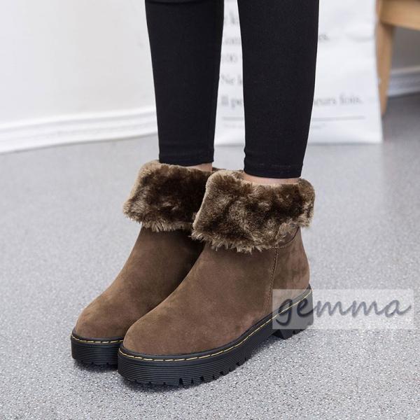 秋冬 シューズ スエード 裏起毛 厚底 ショートブーツ 内ボア 30代 20代 レディース ムートンブーツ  ファー 防寒 暖か 靴