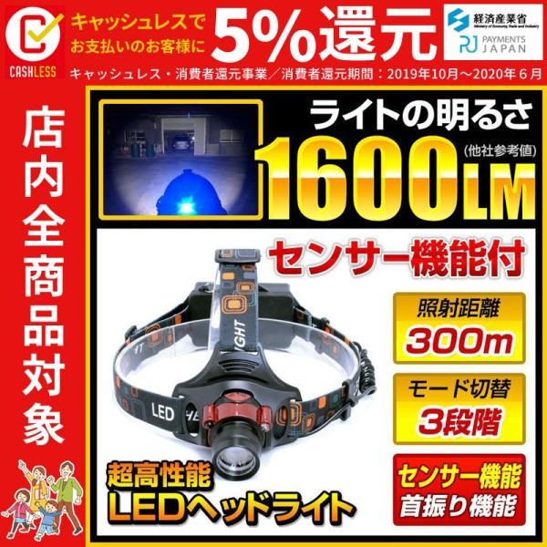 LEDヘッドライト 懐中電灯 ヘッドライト 強力LED 1600ルーメン 3モード切り替え ズーム機能 fl-sh023