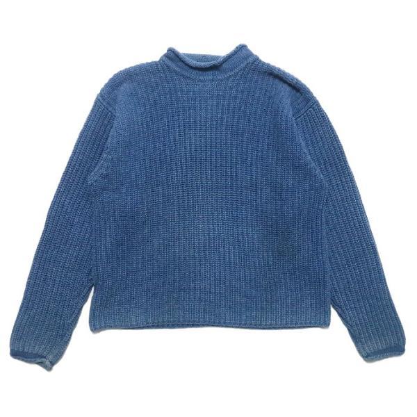 REAL Clothes インディゴ セーター コットン ニット ボトルネック サイズ表記:L|fortyone
