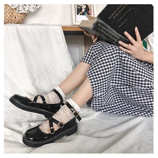 【ForYou】Lolita靴 レディースシューズ パンプス ロリータ靴 お嬢様 美脚 履きやすい 疲れない 可愛い おしゃれ 厚底 コスプレ 通学 蝶結び リボン ゴスロリ風