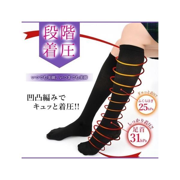 レディース靴下ソックスデザインソックス段階着圧ハイソックス3足組カラー:ブラック系フリーサイズ(23〜25cm)