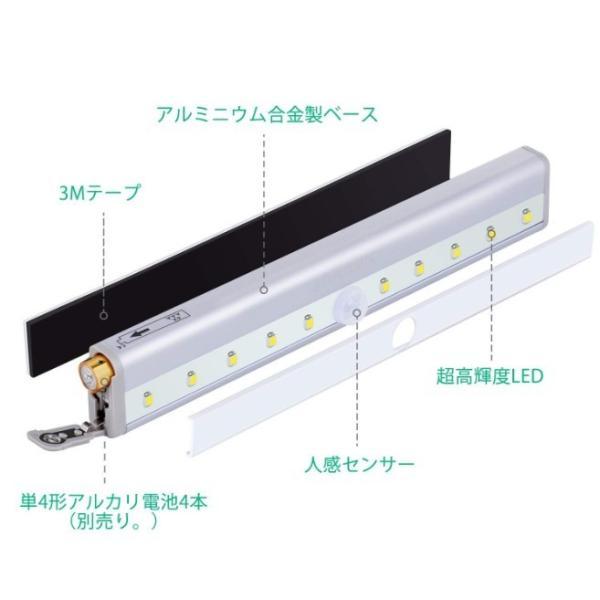 センサーライト 室内 屋内 LED 人感 led流し元灯 センサー 階段ライト 玄関ライト 廊下 電池式 フットライト 自動点灯 four-piece 08