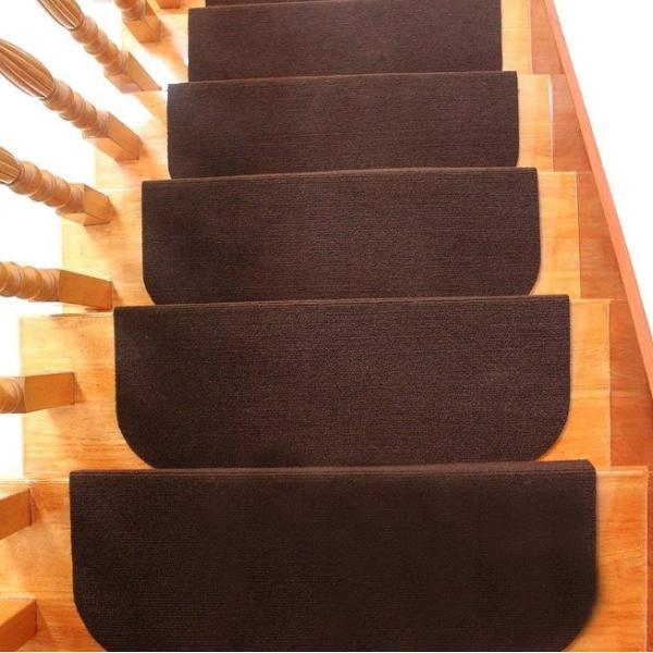 階段マット おしゃれ 15枚組 45×20cm 滑り止め 犬 猫 ペット 洗える 吸着 防音 滑り止めマット 転倒防止 傷防止 ダークブラウン|four-piece|11