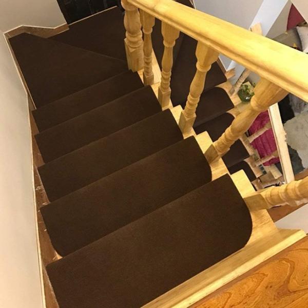 階段マット おしゃれ 15枚組 45×20cm 滑り止め 犬 猫 ペット 洗える 吸着 防音 滑り止めマット 転倒防止 傷防止 ダークブラウン|four-piece|12
