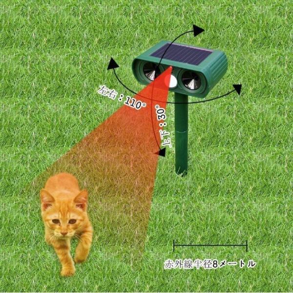 猫よけ 超音波 対策 ソーラー式 動物撃退器 猫除け センサー ライト 猫よけ対策  ネコよけ グッズ ソーラー 充電 カラスよけ 害獣 four-piece 14