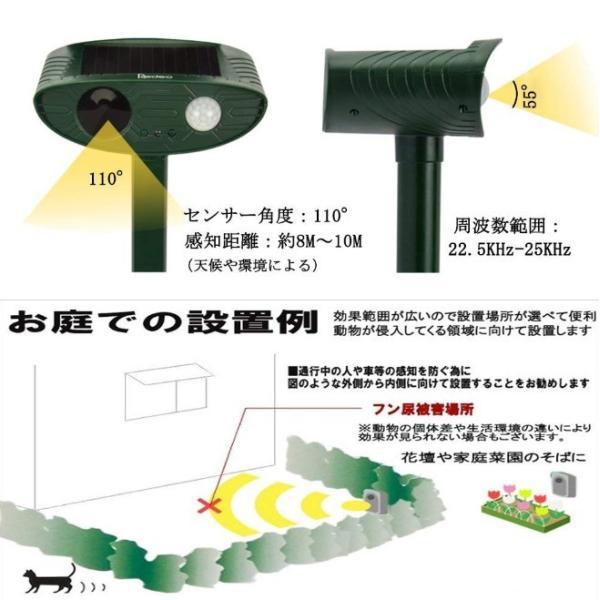 猫よけ 超音波 対策 ソーラー式 動物撃退器 猫除け センサー ライト 猫よけ対策  ネコよけ グッズ ソーラー 充電 カラスよけ 害獣 four-piece 10