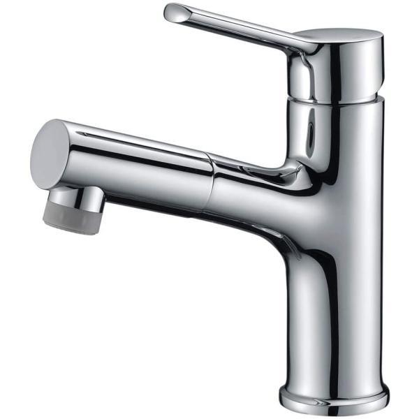 洗面蛇口浴室用水栓洗面洗髪用混合水栓ホース引出し式シングルレバー混合栓泡沫水流シャワー水流クロムメッキ
