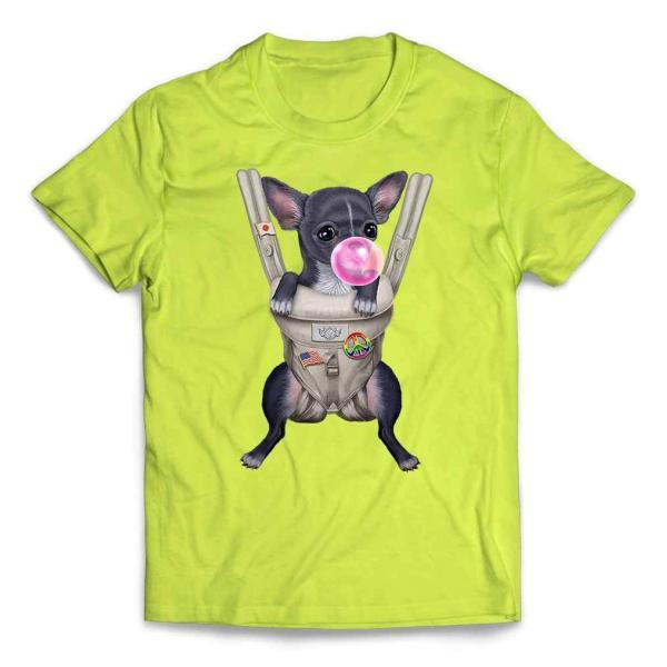 【ブルー チワワ いぬ 犬 抱っこ 抱っこ紐 ガムり】キッズ 半袖 Tシャツ by Fox Republic