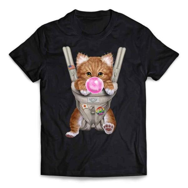 キッズ Tシャツ 半袖 三毛猫 オレンジ ねこ 抱っこ 抱っこ紐 ガム by Fox Republic