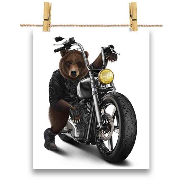 ポストカード 熊 クマ バイク バイカー by Fox Republic
