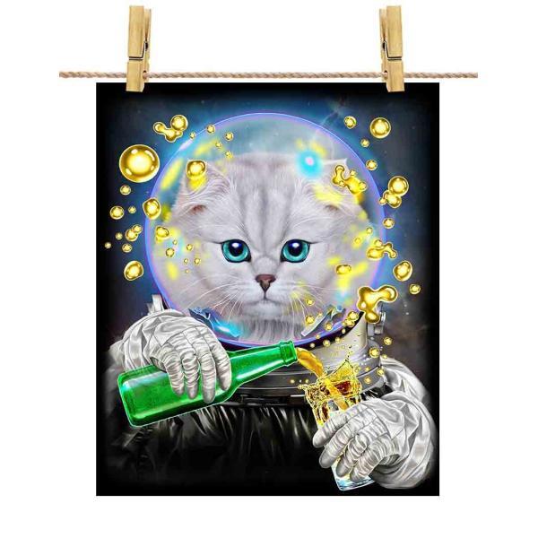 【ペルシャ猫 ねこ ドリンク を飲む 宇宙飛行士】ポストカード by Fox Republic