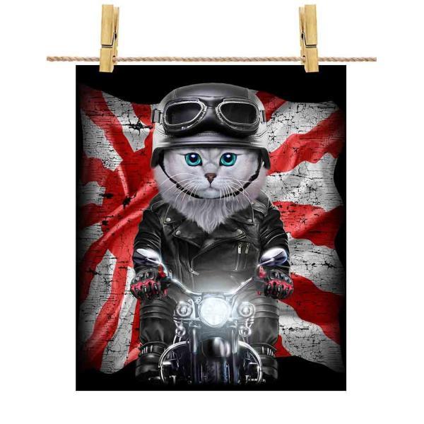 【ペルシャ猫 ねこ バイク 日本 日の丸】ポストカード by Fox Republic