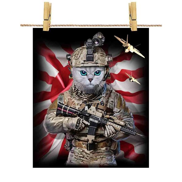【白いペルシャ猫 ねこ 兵士 日本 日の丸】ポストカード by Fox Republic